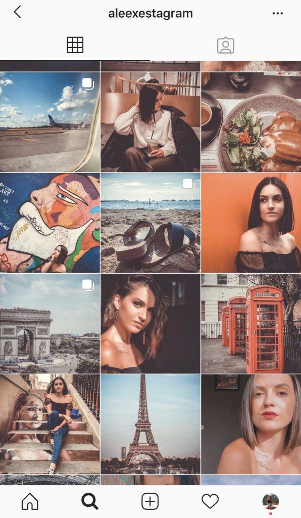 Ici se trouve la capture d'écran du profil d'une utilisatrice d'Instagram, on peut voir différente photos dans les tons chauds et orangés