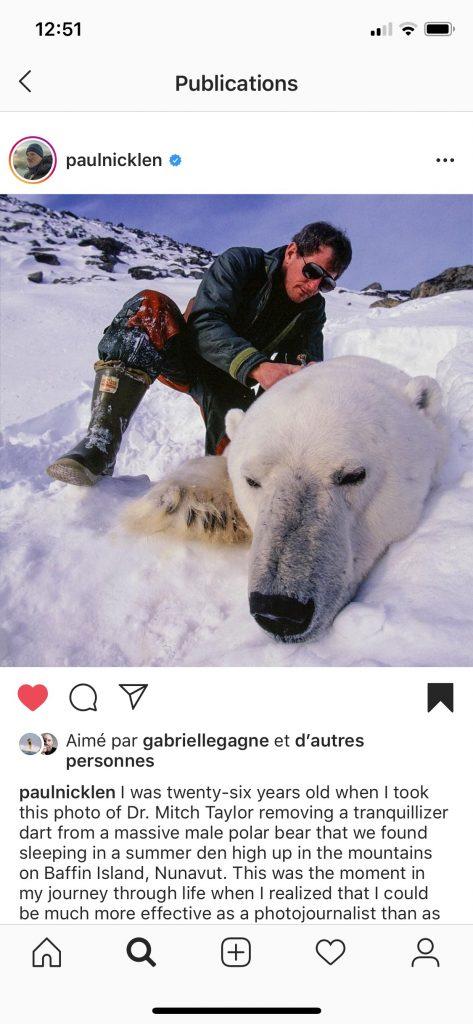 Photo Instagram montrant un homme avec un ours polaire.