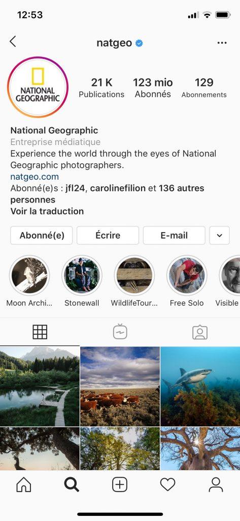 Page principale du profil de National Geographic avec l'onglet montrant leur story disponible et celles enregistrées.