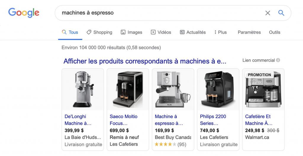 moteur de recherche  commerce en ligne Québec Google