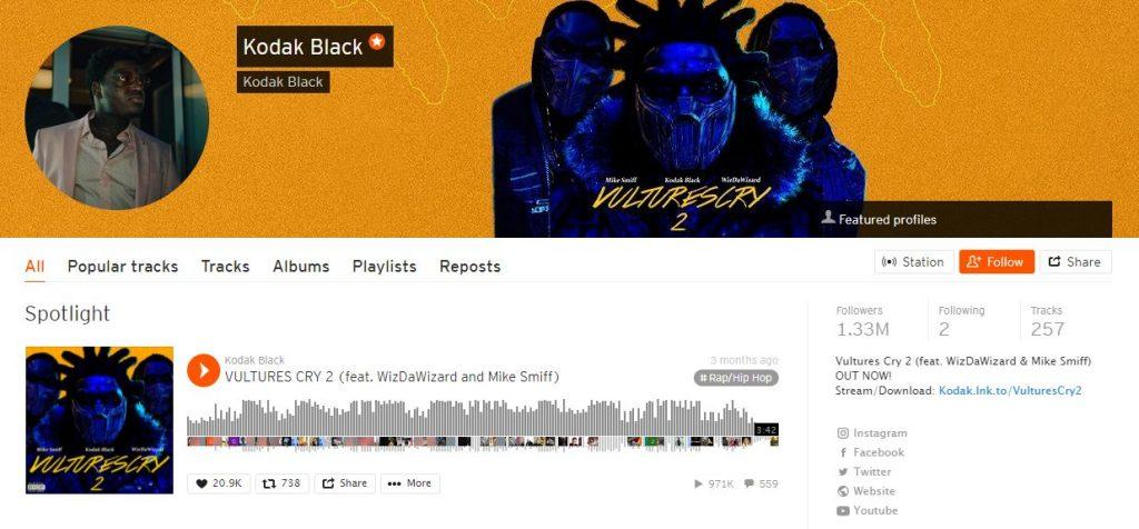 Le profil de Kodak Black sur SoundCloud