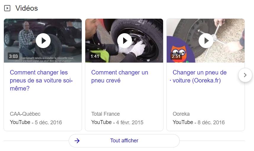 """La position zéro ou le """"Google featured snippet"""" pour une recherche type sous """"changer un pneu""""."""