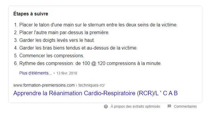 """Le """"featured snippet"""" formaté en liste à numéros."""