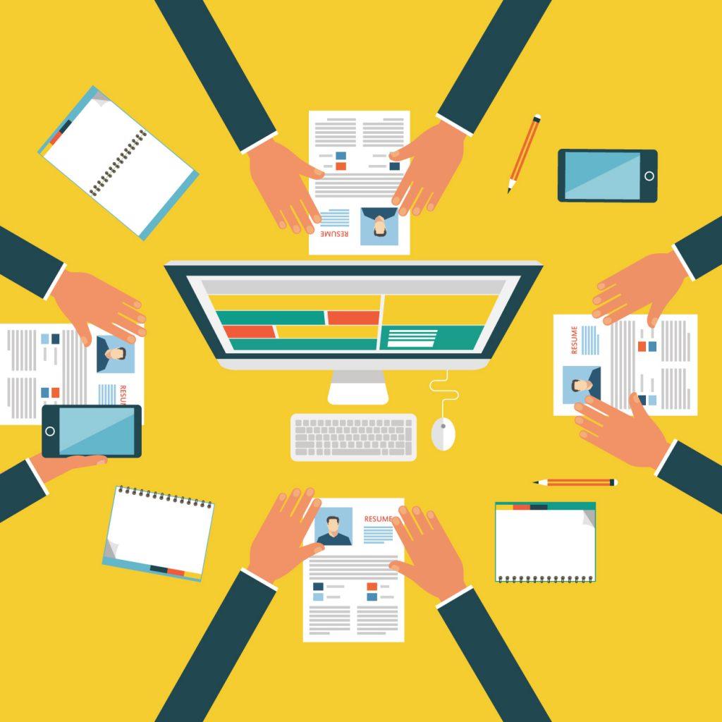 Illustration du recrutement fait en équipe et en ligne.